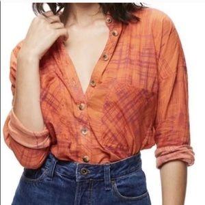 Free People Orange Shore Vibes Button Down Shirt